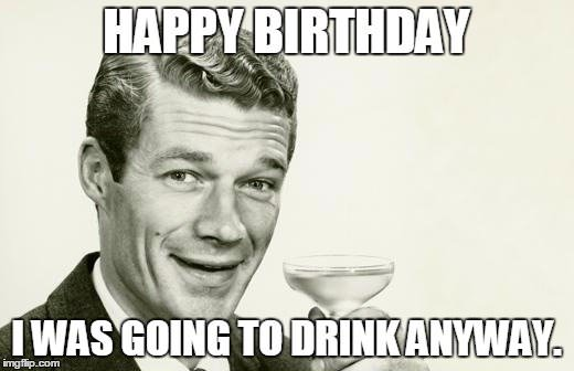 funny happy birthday meme on retro photo of a man